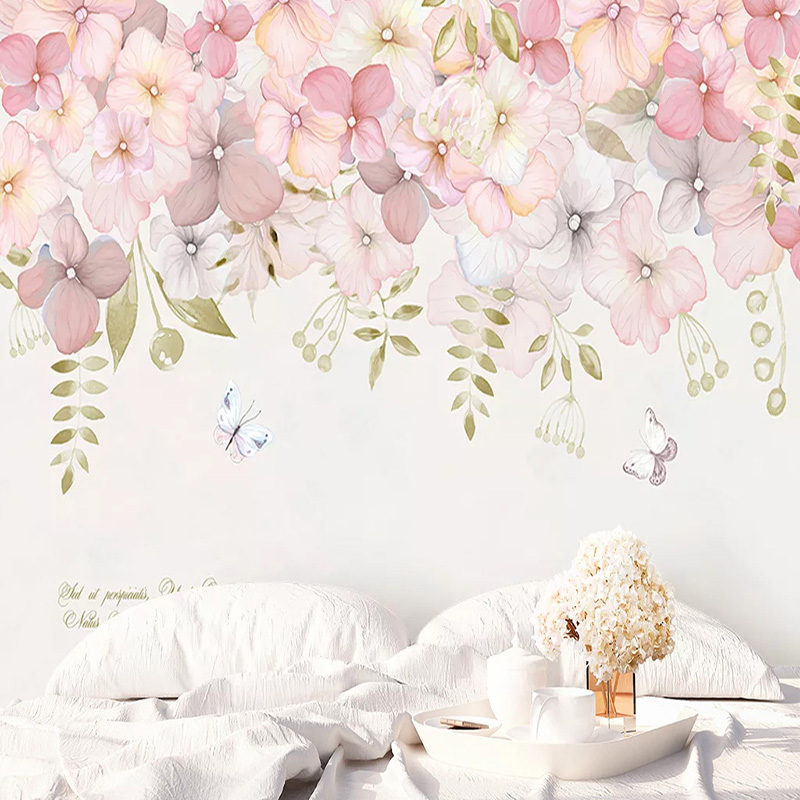 Custom Any Size Mural Wallpaper Modern Pastoral Pink Flowers Photo Wall Painting Living Room Bedroom Romantic Home Decor Sticker