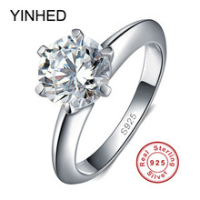 90% Off! yinhed 100% 925 sterling silver nhẫn cưới cho phụ nữ luxury 2 carat sona cz diamant engagement ring set zr139(China)