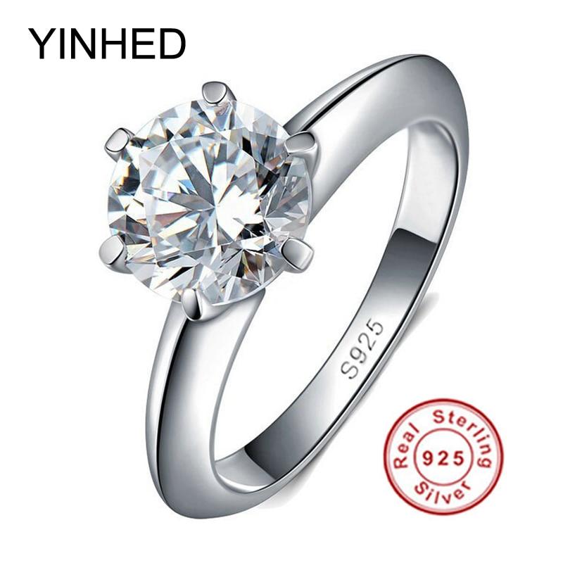 09b885d7a752 90% de descuento! Yinhed 100% 925 de plata esterlina boda Anillos para  mujeres lujo 2 quilates Sona CZ Diamant anillo de compromiso conjunto zr139