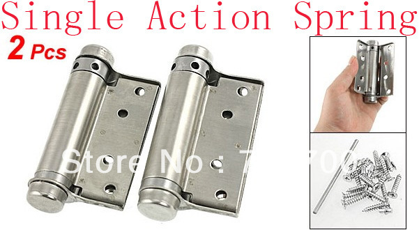"2 Pcs Door Stainless Steel 3"" Single Action Spring Hinges"