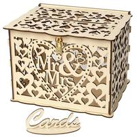 32x26x4cm Wooden Money Box with Lock DIY Wedding Gift Card Box Beautiful Wedding Decoration Supplies for Birthday Party