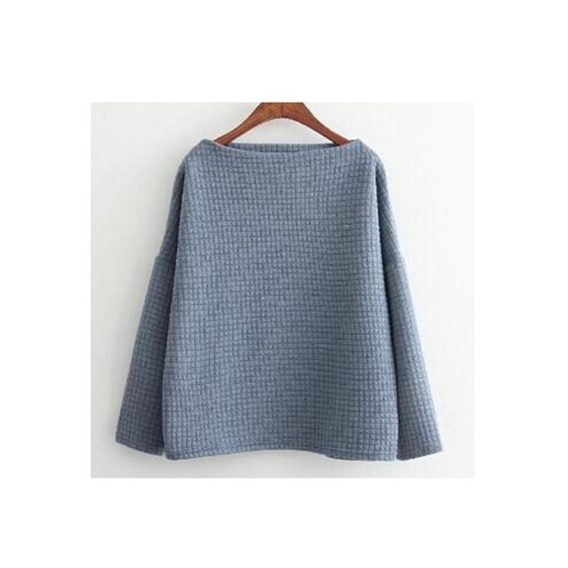Korean Style Sexy Slash Neck Plaid Cotton Sweatshirt For Women New 2016 Spring Fashion Casual Loose Sweat Suits Female
