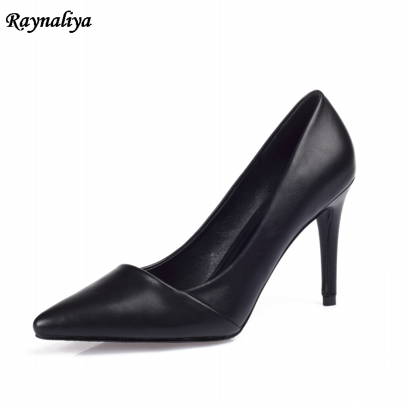 Wedding Dress Shoes Fashion Elegant Thin High Heels Shoes 9cm Solid Women Pumps Office Lady Soft Leather Work Shoes XZL-A0014 2017 gladiator shoes women high heels slip on women pumps solid color round toe elegant high quality dress office lady shoes