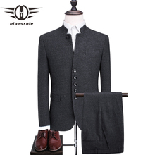 Plyesxale Dark Grey Wool Suit Men 2018 Slim Fit Mandarin Collar Suit High Quality Mens Vintage Suits Wedding Casual Wear Q356