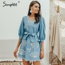 Simplee Summer v neck embrodiery denim dress women Elegant sashes short blue jeans dresses Casual holiday ladies beach dress