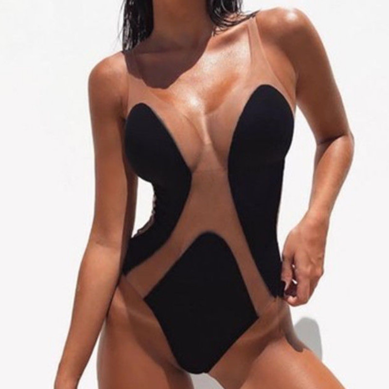 Sexy Mesh Patchwork Womens One-Piece Swimsuit 2019 Hot Mesh Sheer Bikini Push-up Padded Bra Bathing Swimwear Sleeveless