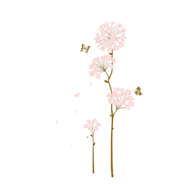 Free shipping home decoration wall sticker light pink flower tree free shipping home decoration wall sticker light pink flower tree with butterfly room decal art mural mightylinksfo