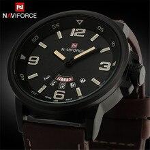 2016 Mens Relojes de Lujo Top Brand NAVIFORCE Reloj de Cuarzo Resistente Al Agua Relojes Deportivos Militar Hombres de Cuero de Los Hombres del relogio masculino