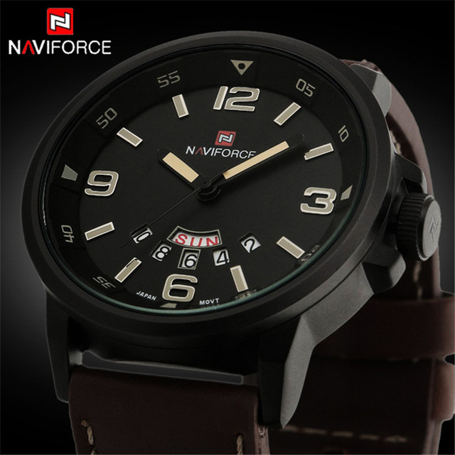 ab269c2f2b1 ... Couro Homem Esporte Relógios Exército Militar Relógio Esportivo  2017  NAVIFORCE Mens Relógios Top Marca de Luxo Relógio de Quartzo dos homens À  Prova D ...