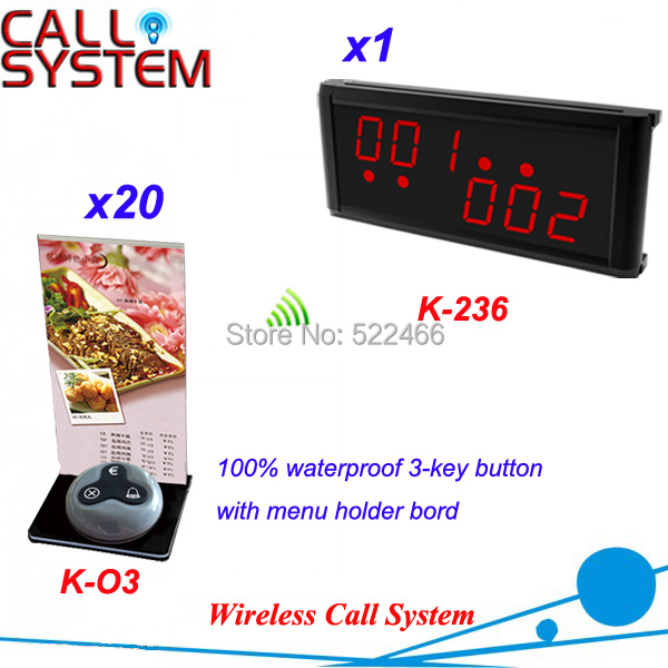 Remote Call Button System for customer call waiters with 20 press button and 1 display new arrival, DHL shipping free new customer call button system for restaurant cafe hotel with 15 call button and 1 display shipping free