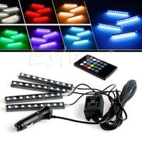 Wireless Remote Music Voice RGB Control Car Truck 9 LED Neon Interior Light Lamp