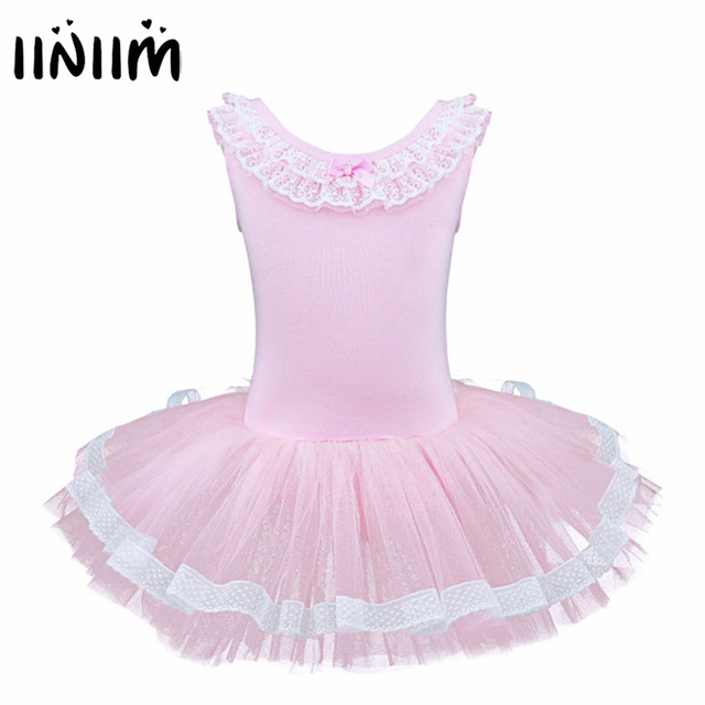 a713da1989 Iiniim Exercício Vestido Sem Mangas Crianças Meninas Ballet Tutu Dança  Leotard Dancewear Ginástica Collant de Balé