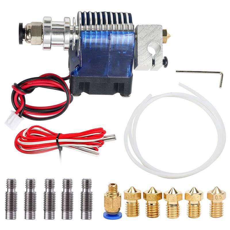 All Metal J Style Head Hotend Full Kit With 5 Pcs Extruder Print Head 5 Pcs Stainless Steel Nozzle Throat For E3D V6 Makerbo in 3D Printer Parts Accessories from Computer Office