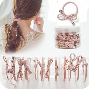 12 Pcs/bottle Ribbon Bowknot Hair Ropes Rubber Band Cute Hair Ties Bow Elastic Hair Band Women Girls Hair Accessories Hair Accessories