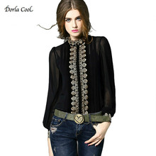Dorla Cool Silk Women's Shirts 2017 Spring Summer Sexy Retro Luxury Embroidery Blouses With Camis White Black High Quality Tops