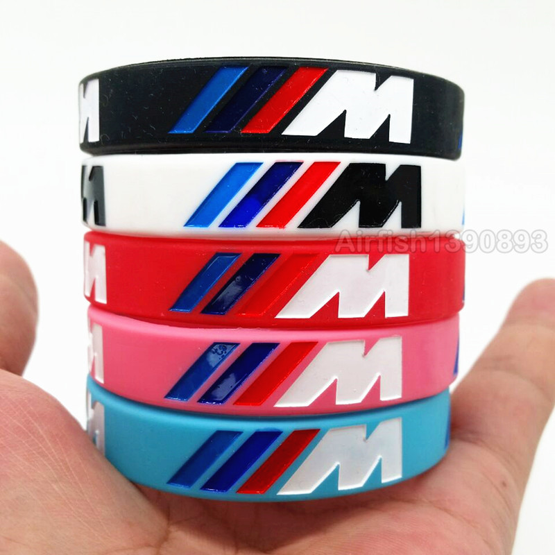 100pcs M Luminous M Power Silicone Bracelets Bimmer Club Fans Hologram Sport Rubber Wristbands Bangles for