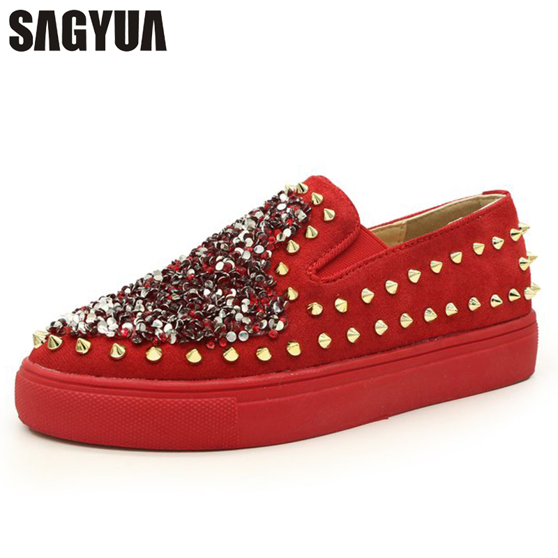 Lady Rivets Paillette Round Toe Women Female Mujer Casual Shallow Flat Slip On Comfort L ...