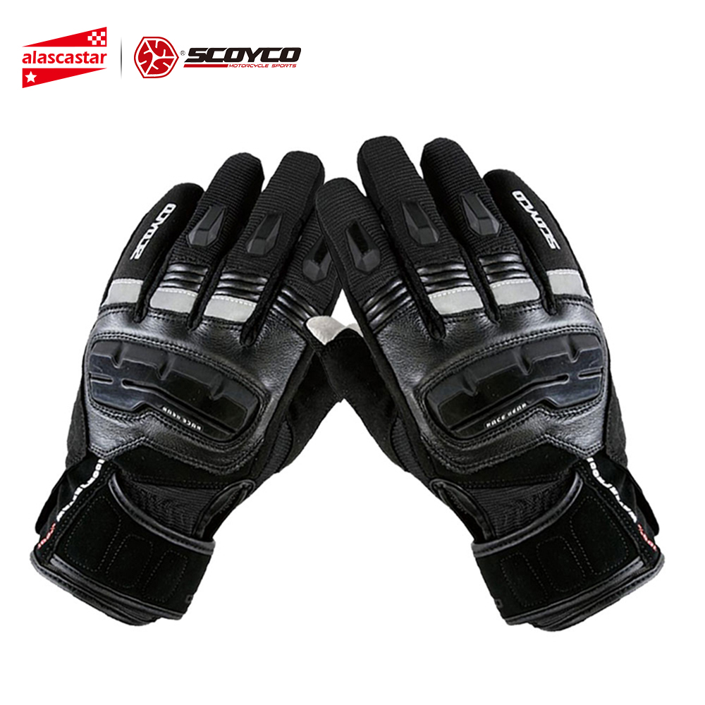 SCOYCO Motorcycle Touch Screen Gloves Men's Genuine Cow Leather Waterproof Windproof Warm Winter Motorbike Racing Riding Gloves цена