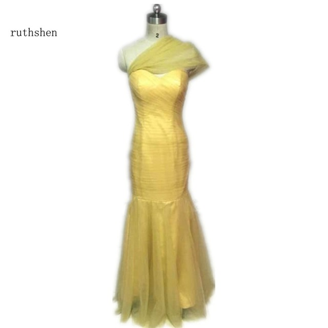 ruthshen Plus Size Champagne Gold Bridesmaid Dresses Mermaid Long ...