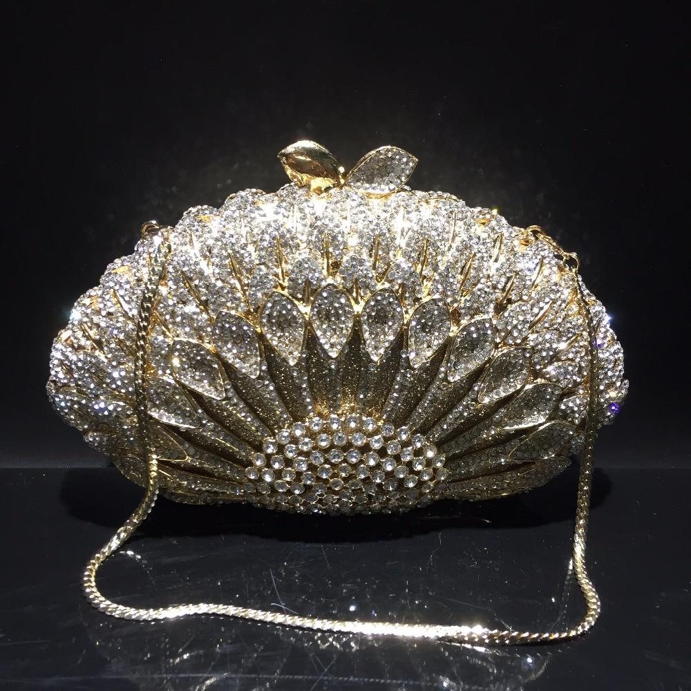 DAIWEI Luxury evening bag Crystal women party purse bags Ladies wedding bridal formal clutch bags banquet