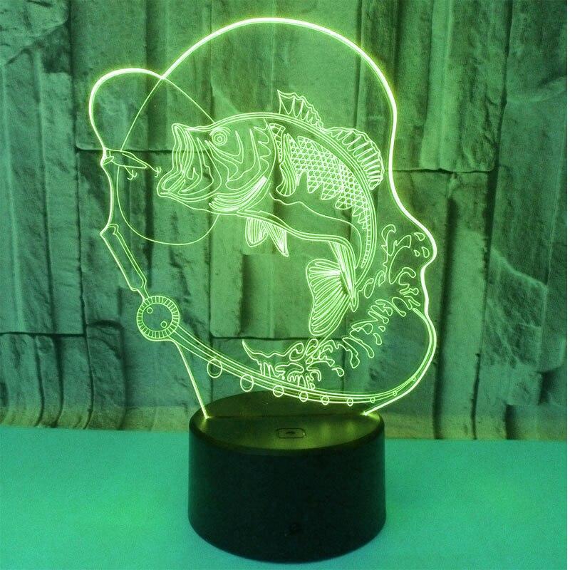 3D HA CONDOTTO LA Luce di Notte Go Fishing Pesce con 7 Colori di Luce per La Decorazione Domestica Lampada Incredibile Visualizzazione Optical Illusion Awesom