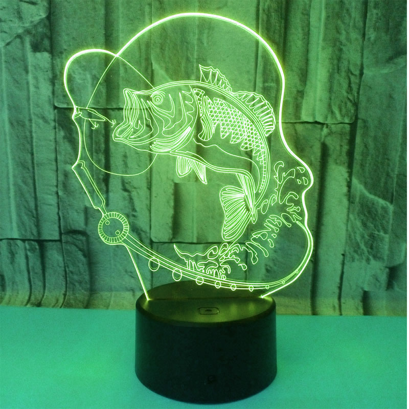3D LED Night Light Go Fishing Fish with 7 Colors Light for Home Decoration Lamp Amazing Visualization Optical Illusion Awesom go fish dvd
