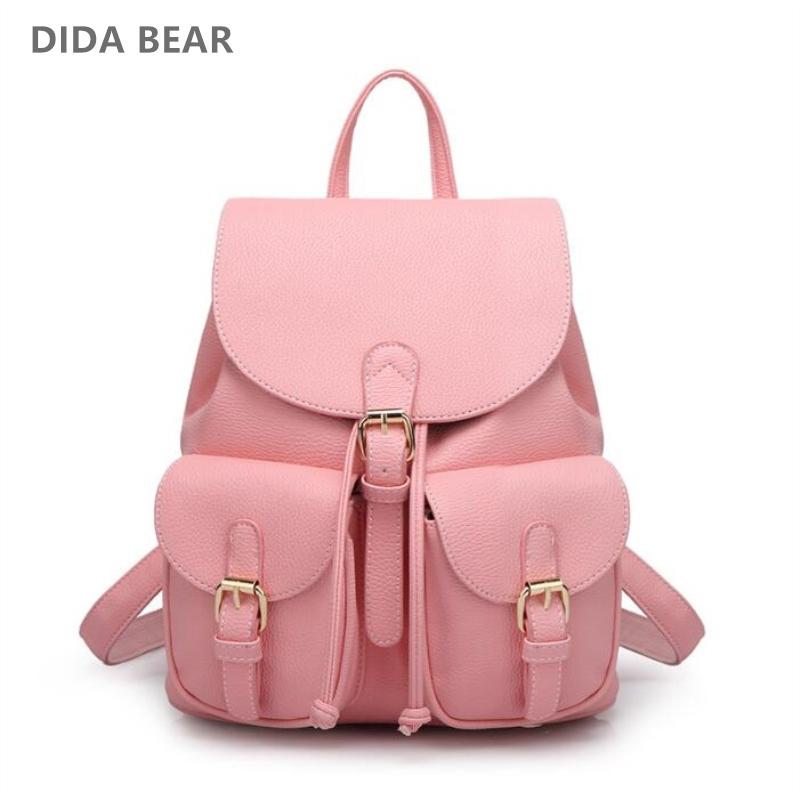 DIDA BEAR Women Leather Backpack Black Bolsas Mochila Feminina Large Girl Schoolbag Travel Bag Solid Candy Color Pink Beige  new women leather backpack black bolsas mochila feminina girl schoolbag travel bag solid candy color green pink beige