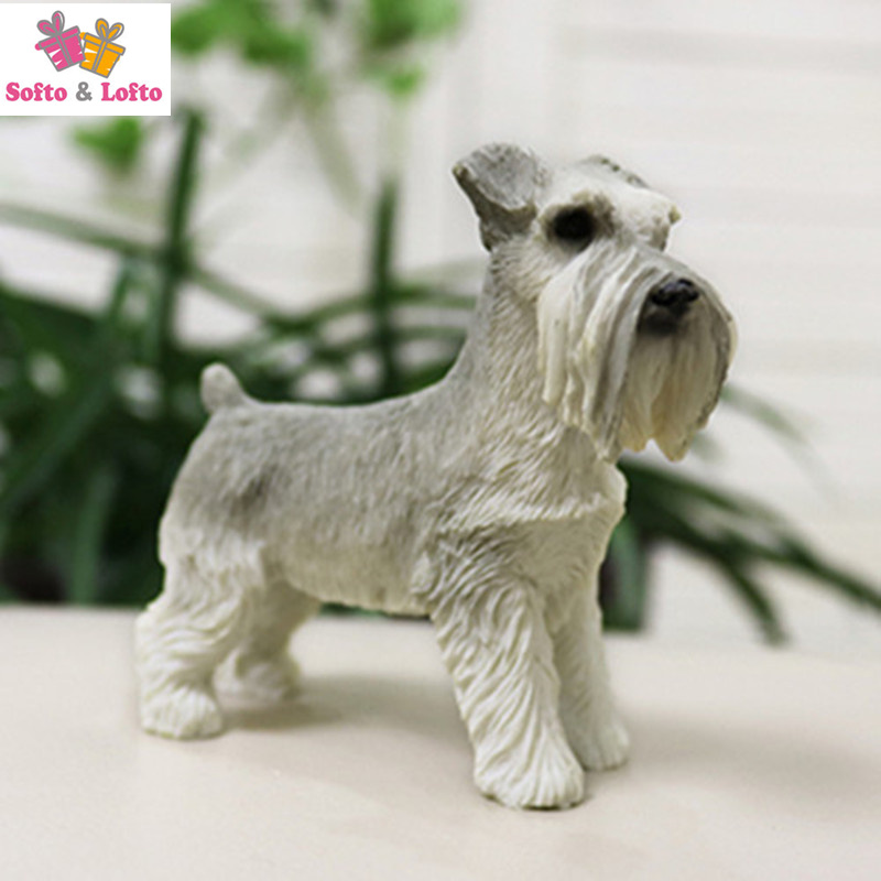 Artificial resin Mini schnauzer terrier dog figure,car styling pet home decorat collection article Christmas birthday gift toy free shipping sleeping beauty figure resin toy vivid lifelike angel girl cake home office car decoration christmas birthday gift