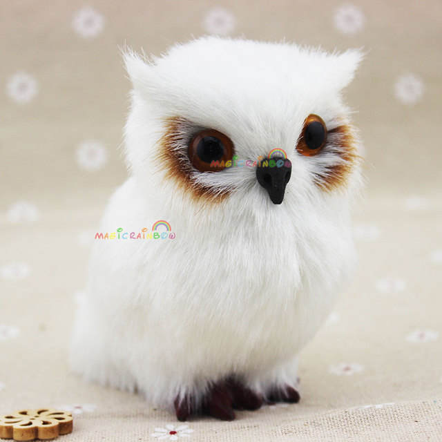 white mini furry owl christmas ornament decoration adornment simulation hair height 35 inch 85mm