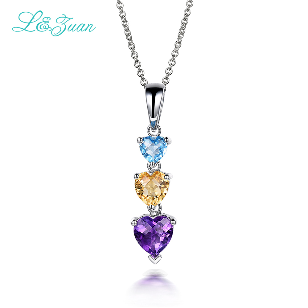 I&Zuan Fashion 3 Heart Design 925 Sterling Silver Chain Amethyst/Citrine/Topaz Natural Stone Pendant Elegant Necklace For Woman
