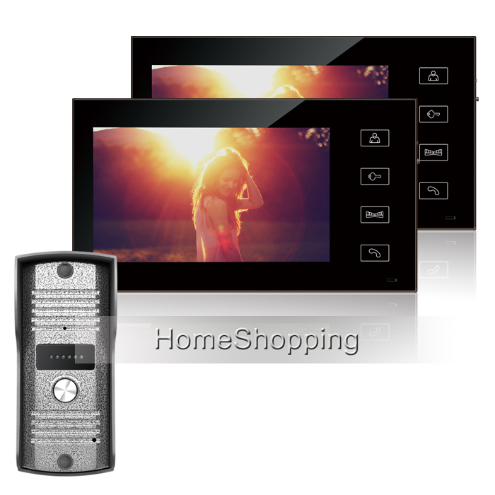 FREE SHIPPING Wired 7 Color TFT Video Door phone Intercom System With Two Touch Monitor + 1 Waterproof Doorbell Camera IN STOCK