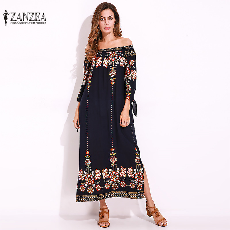 ZANZEA 2018 New Floral Print Maxi Dress Sexy Off Shoulder Beach Summer Dress Split Long Party Dresses Vestidos Plus Size M-5XL