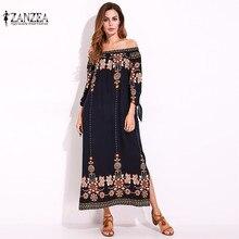 ZANZEA 2019 New Floral Print Maxi Dress Sexy Off Shoulder Beach Summer Dress Split Long Party Dresses Vestidos Plus Size M-5XL