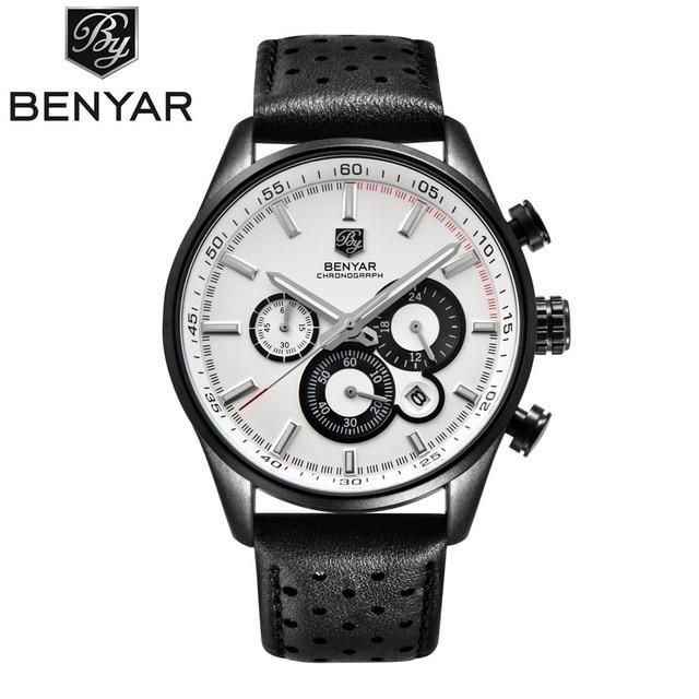New Top Brand BENYAR  Luxury Mens Watches Leather Casual Quartz Watch Men Military Sport Waterproof Clock Watch Relogio Masculin | Fotoflaco.net
