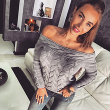 Off Shoulder Sweater Women Twist Long Sleeve Pullover Pink Knitted Sweater Casual Streetwear Autumn Winter Sweaters Jumper New