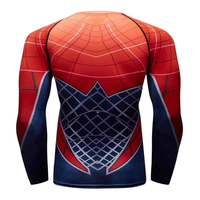 2019 new long-sleeved dos homens meias de compressão T-shirt MMA fitness gym fitness moletom 3D impressão vermelho azul Aranha -homem da camisa