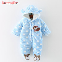 الوليد الطفل السروال القصير لطيف الدب الشتاء سميكة الدافئة ملابس الطفل طويلة الأكمام مقنعين رومبير طفلة قطعة واحدة ملابس حللا