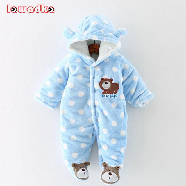 9053515cb NewBorn Baby Rompers Cute Bear Winter Thick Warm Baby Clothing Long ...