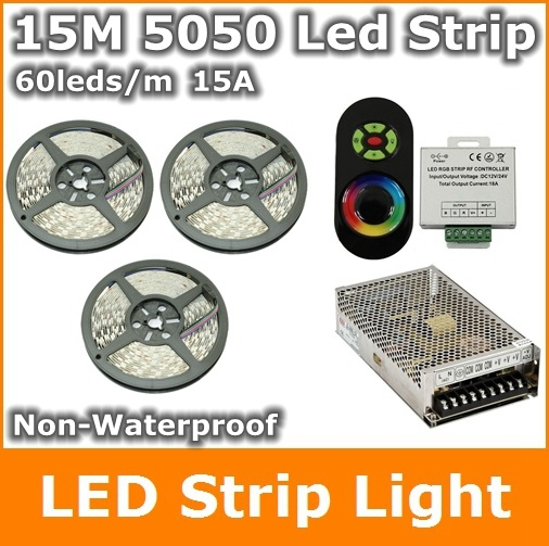 RGB LED Strip 15M 5050 60leds/m Flexible Light  For Home Garden Decoration RGB Non Waterproof  15A Power Adapter led strip light rgb led strip 5m 5050 non waterproof flexible light 44 keys ir remote dc12v power adapter high brightness led strip light