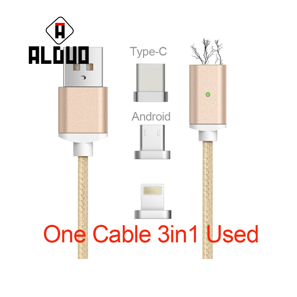 ALANGDUO 3 IN 1 Magnetic Cable With Charger For Iphone6s Data Fast Charging Cable for Samsung