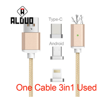 ALANGDUO 3 IN 1 Magnetic Cable With Charger For Iphone6s Data Fast Charging Cable for Samsung For xiaomi Usb cable EU charger