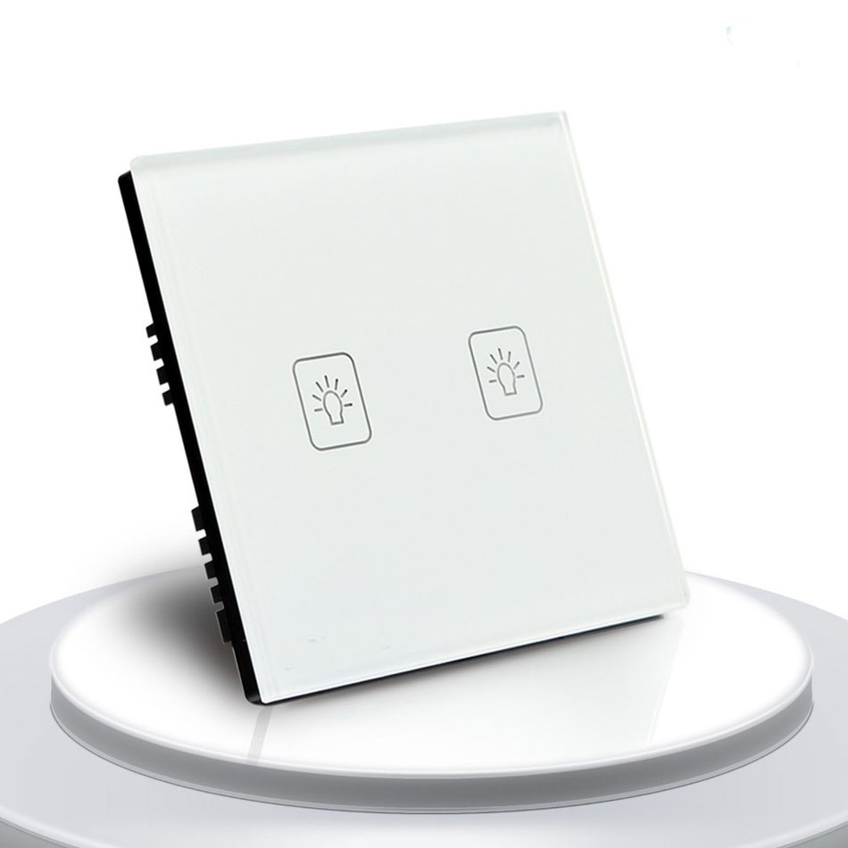 Standard Touch Switch, 2 Gang 2 Way Control, 3 Color Crystal Glass Panel,Wall Light Switch 2017 free shipping smart wall switch crystal glass panel switch us 2 gang remote control touch switch wall light switch for led