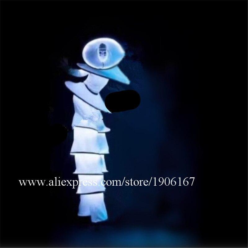 Sala da ballo Danza Costumi Led Robot Cavaliere Vestito di Luce Luminosa Bianca Pagliaccio Fase Indossa Prestazioni Passerella Vestiti Bar Led O
