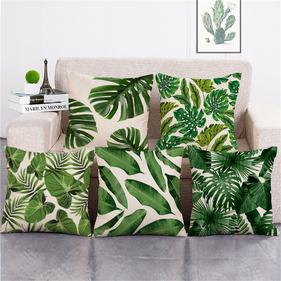 ZXZXOON Tropical Plant Green leaf Leaves Monstera Cushion Cover Hibiscus Flower Cushion Cover Decorative Beige Linen Pillow Case