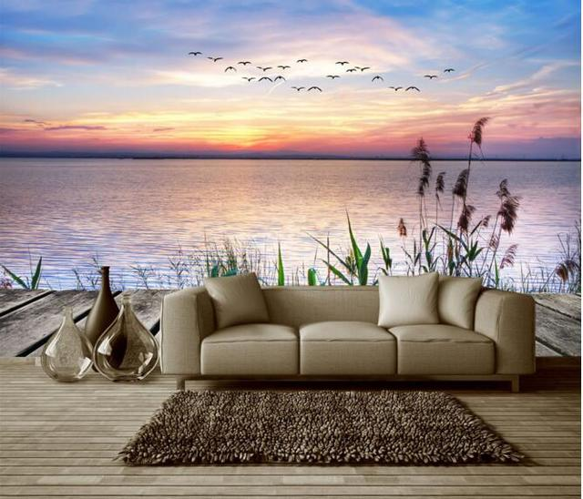 3d wallpaper kustom mural non woven wall sticker 3d danau