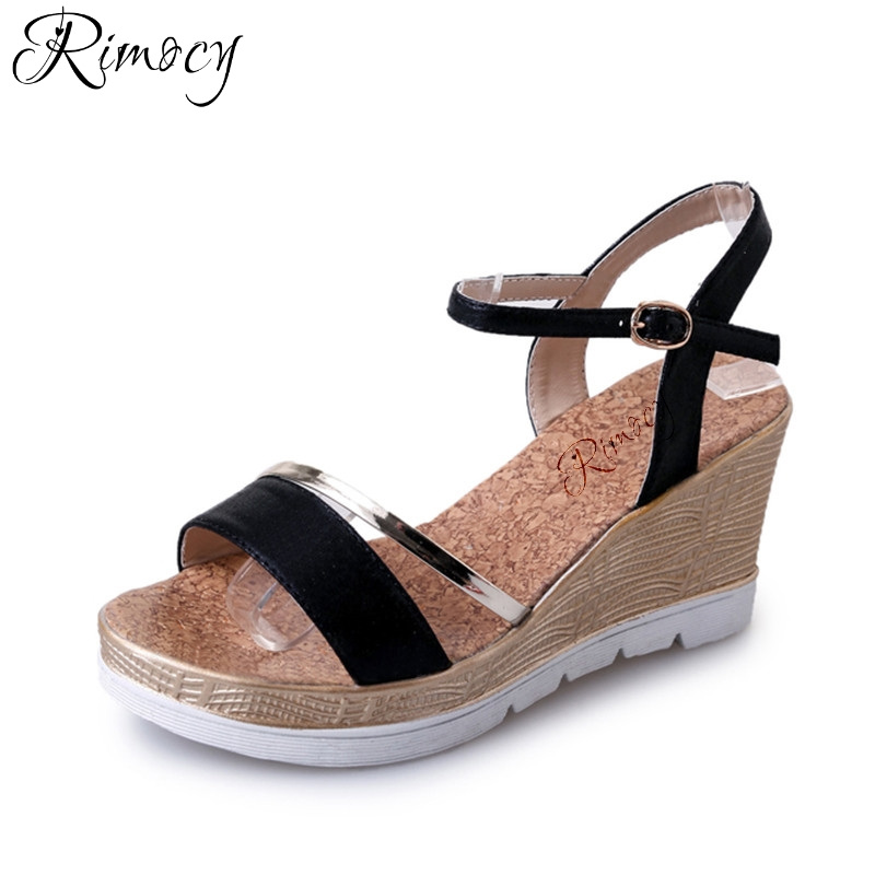 Rimocy woman wedges sandals female ankle strap high heel platform sandals casual women's summer shoes beach flip flops mujer phyanic 2017 gladiator sandals gold silver shoes woman summer platform wedges glitters creepers casual women shoes phy3323