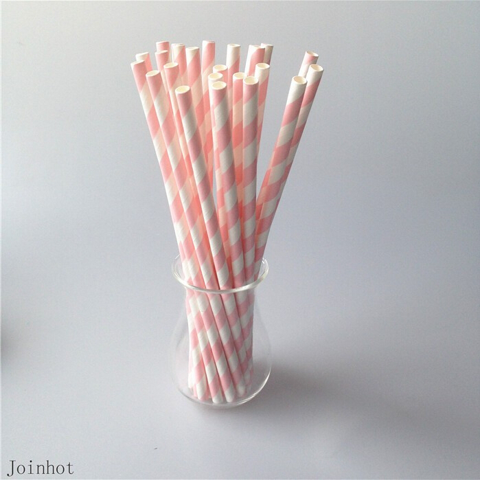 decorative straws for weddings 25pcs lot striped paper pink straws creative 3463