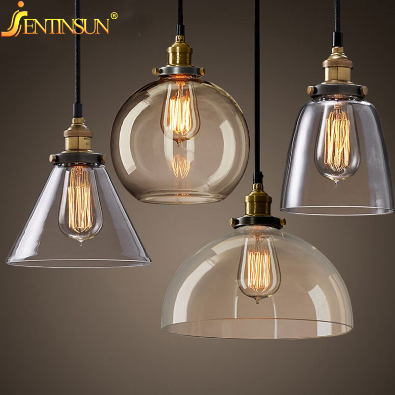 Retro Vintage Pendant Lights Clear Glass Lampshade Loft Modern Lamps LED E27 110V 220V for Dinning Room Home Decoration Lighting modern round glass pendant light grey color clear color amber color pendant lamps with bulbs 110v 220v led pendant lights