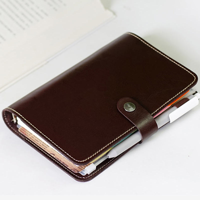 2016 Creative A6 Snap Bind Loose Leaf Planner Faux Leather Notebook with free Notepad leaf faux leather tassel strand bracelet