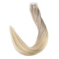 Full Shine 20 Pcs Color in #18 Ash Blonde Fading to #22 and #60 Platinum Blonde Remy Balayage Highlight Hair Extension Glue Tape